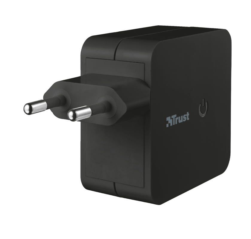 TRUST 12W WALL CHARGER WITH 2 USB PORTS - BLACK 19158