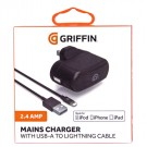 Griffin Mains Charger with USB-A to Lightning Cable Black - GP010