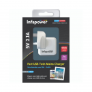 Infapower Fast USB Twin Mains Charger - P041